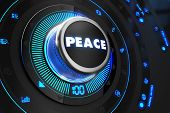 stock photo of covenant  - Peace Controller on Black Control Console with Blue Backlight - JPG
