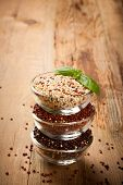 picture of quinoa  - Stack of bawls with red - JPG