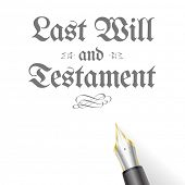 stock photo of deceased  - illustration of a Testament Letter with fountain pen - JPG