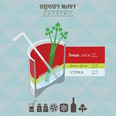 picture of mary  - flat styled isometric illustration of cocktail - JPG