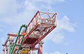picture of genova  - crane in the harbour of genova during discharging - JPG