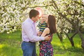 image of spring-weather  - portrait of happy family - JPG