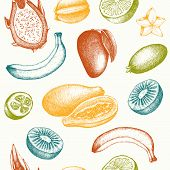 pic of pawpaw  - Vector seamless pattern with ink hand avocado for kitchen and restaurant design - JPG