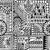 image of tribal  - Seamless asian ethnic floral retro doodle black and white background pattern in vector - JPG