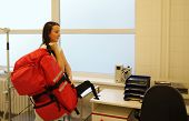 foto of icu  - Nurse with great medical backpack in ICU - JPG
