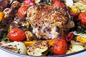 picture of roasted pork  - Roasted pork roulade with potatoes - JPG