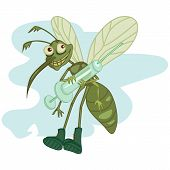 image of gnats  - czrtoon hungry mosquito holding a big syringe - JPG