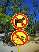 stock photo of dog park  - Prohibiting signs no - JPG