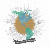picture of north star  - North and south America map with vintage style star burst - JPG