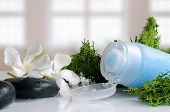 stock photo of gels  - Blue exfoliating gel with seaweed on a white glass table in a bath - JPG