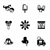 picture of ice cream parlor  - Vector Ice cream icon set on white background - JPG