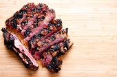 stock photo of rib eye steak  - a rare rib steak cooked to perfection on the grill - JPG