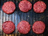 stock photo of beef-burger  - raw burgers from organic beef - JPG
