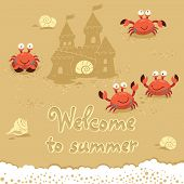 picture of crab  - Funny summer card with crabs - JPG