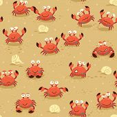 stock photo of crab  - llustration endless background with crabs - JPG