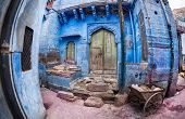 picture of rajasthani  - Ruined house at narrow street in Jodhpur Blue city of Rajasthan India - JPG