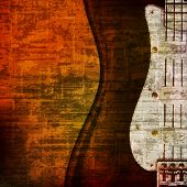 stock photo of sax  - abstract brown grunge vintage sound background with electric guitar - JPG
