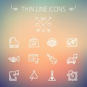 picture of trumpet  - Music and entertainment thin line icon set for web and mobile - JPG