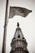 image of city hall  - Philadelphia flag and city Hall - JPG