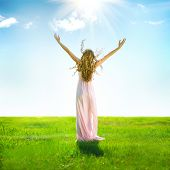 stock photo of grassland  - Beauty Girl enjoying nature on the field - JPG