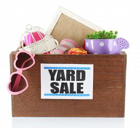 foto of yard sale  - Box of unwanted stuff ready for yard sale isolated on white - JPG
