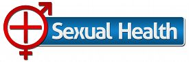 image of std  - Sexual Health Symbol in red with medical sign and male female symbol - JPG
