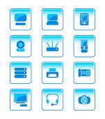 modern office electronics vector icon-set in blue