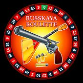 Stylized logo for famous Russian Roulette: roulette wheel, gun with bullets and balalaika