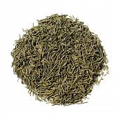 Japanese green Kokeicha (formed tea) consist of like pine needle leaves
