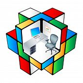 The working place at colorful office cubicle matrix