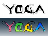 image of yoga silhouette  - Yoga symbol made from people silhouettes and letters - JPG