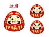 Three phase of Daruma doll eyes and name in japanese