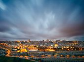 Dramatic clouds over Jerusalem old city, Israel poster