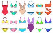 Постер, плакат: Doodle Bikini Swimming Suits Set Women Cloth Color