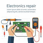 Electronics Repair. Tester Checking poster