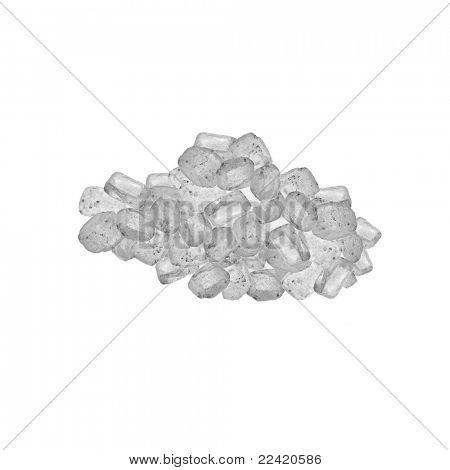 Постер, плакат: Кристаллы соли моря изолированные на белом, холст на подрамнике