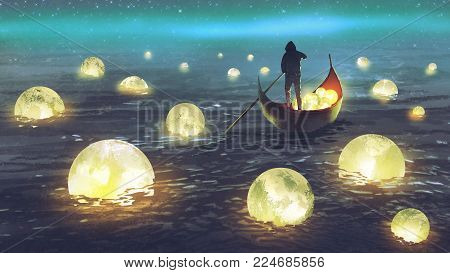 poster of night scenery of a man rowing a boat among many glowing moons floating on the sea, digital art style, illustration painting