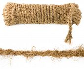 stock photo of coir  - coir rope from coconut fiber isolated on white background - JPG