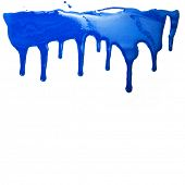 stock photo of ooze  - Paint dripping isolated on white background - JPG