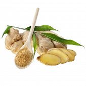 pic of rhizomes  - fresh ginger and powder in the wooden spoon - JPG