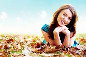Autumn Girl Portrait Outdoors poster