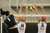 DEBRECEN, HUNGARY - JULY 9: Rita Liliom (in black 1) in action at a CEV European League woman's voll