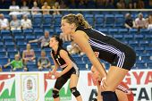 DEBRECEN, HUNGARY - JULY 9: Dora Horvath (R) in action at a CEV European League woman's volleyball g