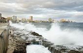 pic of malecon  - waves in Malecon of Havana - JPG