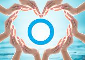 World Diabetes Day Concept With Blue Circle Symbolic Logo Among Protective Heart-shape Hands For Dia poster