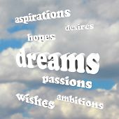 Several words around the word Dreams representing our goals in life: desires, passions, ambitions, hopes, aspirations, wishes