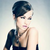 image of jewelry  - Beautiful woman with evening make - JPG