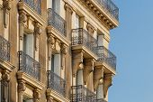 Paris Residential Buildings. Old Paris Architecture, Beautiful Facades, Typical French Houses On Sun poster