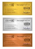 vector Coupon trio Gold Silver Bronze template