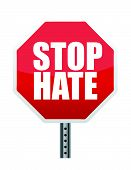 stock photo of stop hate  - stop sign reading  - JPG